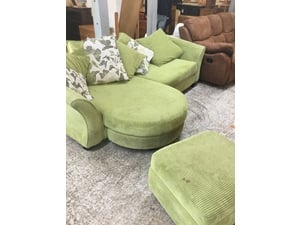 Green Corner Sofa with Footstool in Eastbourne